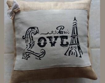 """CUSHION """"LOVE-EIFFEL TOWER PARIS"""""""