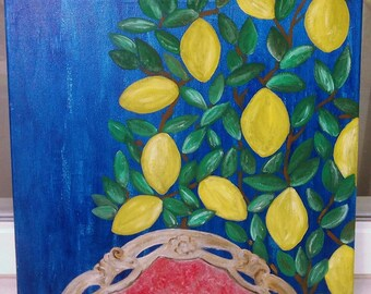 """Unique and original acrylic painting - """"Lemons"""""""