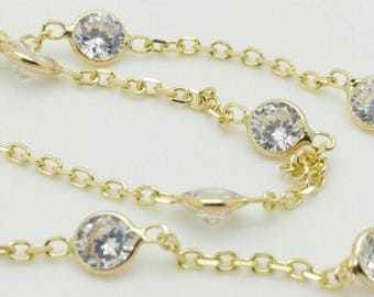 """14k Solid Yellow Gold Cubic Zirconia By the Yard Anklet Bracelet Chain 10"""""""