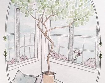 A corner view / Illustration / Watercolour / Art / Hand drawn / Drawing / Print
