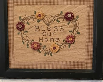 Vintage inspired Framed embroided Bless Our Home wall hanging.