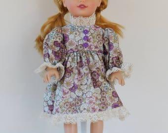 Purple floral 18 inch doll dress.