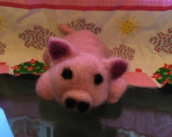 Cute Needle Felted Pig