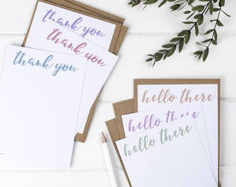Thank You Postcards Set – Hello Postcards Set – Notelets Set – Stationery Lover – Note Cards – Correspondence Notecards – Thank You Card