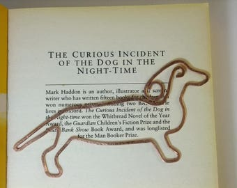 Copper wire dachshund bookmark - Copper wire dog bookmark, sausage dog bookmark - ideal gender neutral gift
