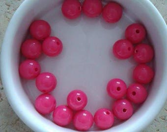 Set of 20 beads 10mm pink acrylic (P22)