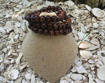 Dark wood beaded bracelets