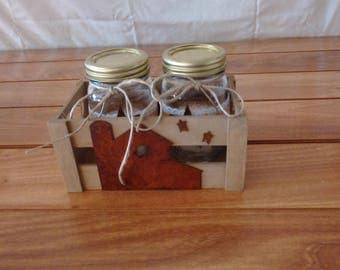 Mason Jars and Wooden Crate