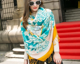 Pashmina Shawl Beige Turquoise Yellow Pashmina Scarf Flowers Wrap Wedding Shawl Bohemian Scarves Winter Cashmere Scarf Oversized Wool Scarf
