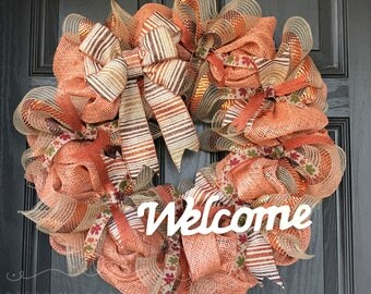 Fall Wreath - Autumn Wreath - Deco Mesh Wreath - Welcome Wreath -