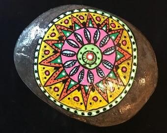 Mandala painted rock