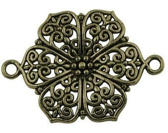 1 connector bronze flower filigree