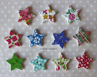 Lot 10 wooden buttons star variety 25mm