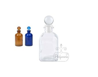 3 Bottles Your Choice 3.4 oz  GLASS APOTHECARY Old World Style with Glass Ball Top Closure For Essential Oils Perfume Potions Alchemy Amulet