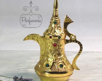 Teapot Style Gold Genie Old World ATTAR Oil Oud PERFUME Cologne Bottle 12ML Gift Exotic Arabian Private Label