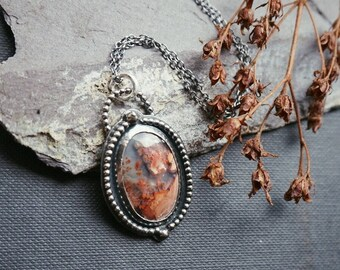 Garden Quartz cameo pendant in sterling silver moss agate