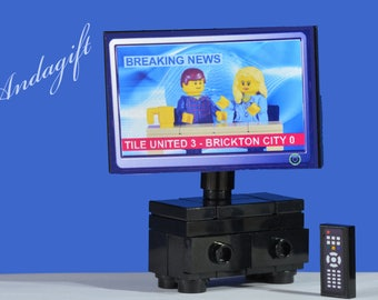 LEGO NEW large television custom set with remote control and a choice of 4 screens for the TV with instructions lego furniture aag