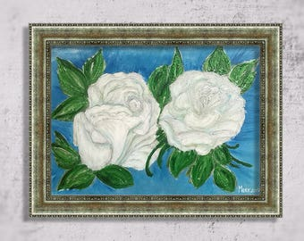 White roses – painting with white flowers, a romantic gift, decoration for home