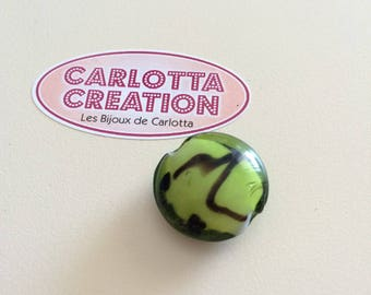 Green and black coin bead