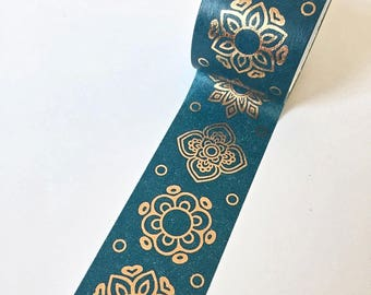 Cute wide roll blue Washi Tape with copper coloured flower pattern // Decoration Adhesive DIY Masking Bullet Journal Bronze mandala Shiny