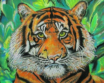 A4 Giclée Print entitled 'Tiger' from an original soft pastel painting by artist Martin Romanovsky