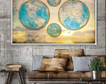 Home Decor - Wall decor- Travel map - Print map - Office decor - World map with Eratosthenes, Kepler , Galileo and Copernicus!