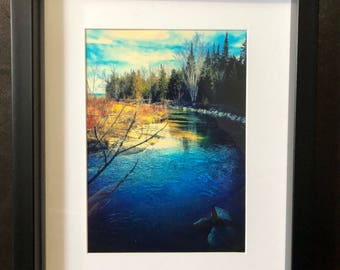 "Wall Decor Trees and River: Color photograph, 5""X7"", matted frame 8""X10"""