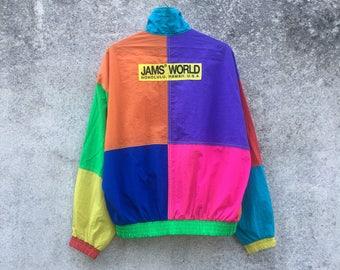 JAM'S WORLD vintage 90s Jam's World back logo multicolour colourful block colour size L