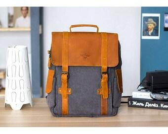 Handmade bag, backpack canvas, canvas rucksack, blue backpack, vintage backpack, rucksack leather backpack, travel backpack men,