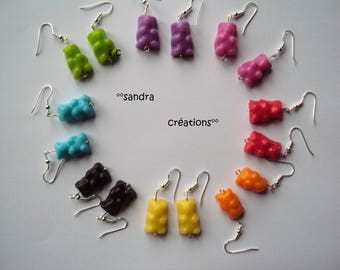 Teddy bear earrings candies all Rainbow colors