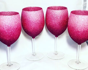 Mothers Day Gift Pink Ombre Glitter Glasses