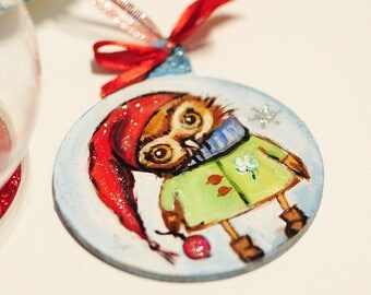 Owl Wood Hanging Christmas decorations. Hand painted wood Christmas tree decoration.