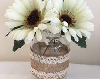 Decorated mason jar, lace, bur bur, home decor, rustic decor, shabby and chic, flower vase