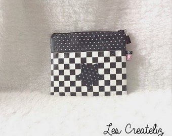 Pouch bag black and white imitation leather