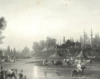 The River Barrada, the Ancient Pharpar, Syria 1841 - Old Antique Vintage Engraving Art Print - River, Mosque, Tents, Camel, Minerat, Horse