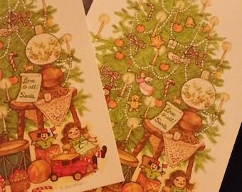 Vintage Greeting Card - Christmas Postcard - Holiday Greetings Christmas Tree Postcard - S. Sandner - 2 postcards