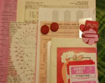 Valentine Ephemera Paper Pack / Vintage & New / 25+ Pieces / Journal / Daily Planner / Scrapbook Ephemera