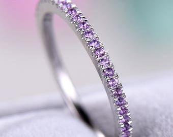 Amethyst Wedding Band 925 Sterling Silver White Gold Half Eternity Wedding Bridal Stacking Matching Ring Minimalist Pave Stackable Band