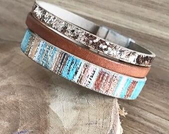 Glitter leather Cuff Bracelet