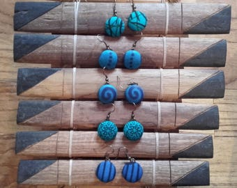 a pair of African WAX fabric EARRINGS