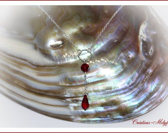 Silver necklace with red Swarovski crystals pendant