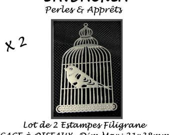 2 filigree prints - Bird CAGE - Max size: 21x38mm - SILVERED Metal # E35