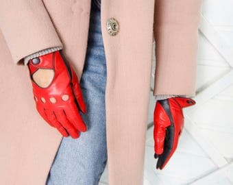 Black and red women driving gloves