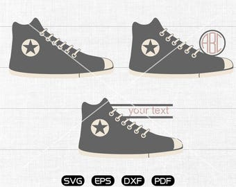 Shoes Svg, Canvas shoes Clipart, Monogram Frame cricut, cameo, silhouette cut files commercial & personal use