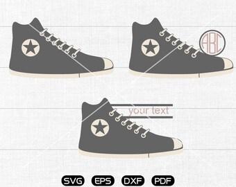 Shoes Svg, Canvas shoes Clipart, Monogram Frame cricut, cameo, silhouette cut files commercial & personal use