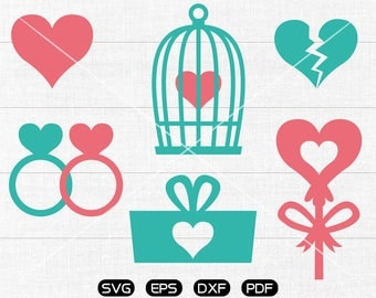 Heart SVG, Heart ring svg, cage svg, LOVE gIft box Clipart, Valentine's Day cricut, silhouette cut files commercial use