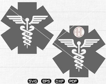 Medical Paramedic EMT Symbol SVG, Medical Clipart, Monogram Frame cricut, silhouette cut files commercial use