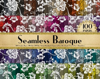 """100 Seamless Baroque Pattern Papers in 12"""" x 12"""", 300 Dpi Planner Paper, Scrapbook Paper,Rainbow Paper, Floral Papers, Baroque Digital Paper"""