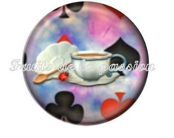 1 cabochon 25mm round glass, fairytales, fairy tale, alice