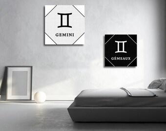 2 french Gemini zodiac sign Astrology English instant download 5 X 5 8 X 8 10 X 10 12 X 12 15 X 15 16 X 16 18 X 18 20 X 20 30 X 30 50 X 50